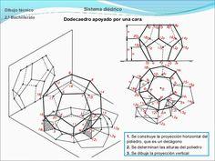 Dibujo técnico  Sistema diédrico  2.º Bachillerato  Dodecaedro apoyado por una cara  1. Se construye la proyección horizon...