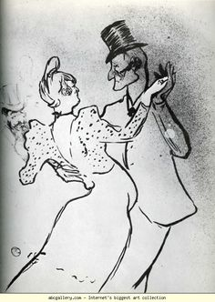 La Goulue and Valentin, Waltz - Henri de Toulouse-Lautrec. Titulo original: La Goulue and Valentin, Waltz. Henri De Toulouse Lautrec, Renoir, Monet, Ligne Claire, Art Institute Of Chicago, French Artists, Van Gogh, Illustration, Sketches