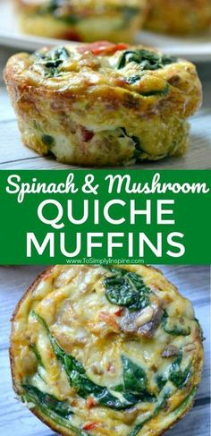 , These healthy little spinach quiche muffins are easy to make ahead and just heat them up each morning. Have along with oatmeal for a great clean eatin. , These healthy little spinach quiche muffins are easy to make ahead and just heat. Quiche Muffins, Breakfast Quiche, Breakfast Casserole, Spinach Muffins, Spinach Quiche Recipes, Spinach Quiche Crustless, Savory Muffins, Healthy Muffins, Clean Eating Recipes