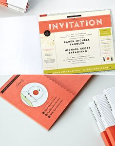 Awesome color. the type of the title 'invitation' is great. I like the depth and lines.