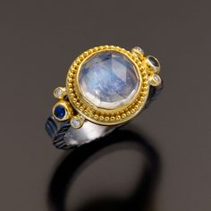 oxidized sterling silver granulation 22kt gold moonstone ring