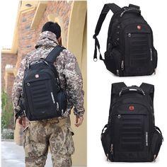Homens Engrenagem suíço Laptop Notebook Backpack Caminhadas Ao Ar Livre Saco de Ombro Saco