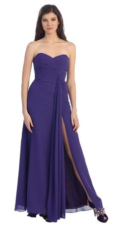 Strapless Chiffon Bridesmaids Formal Evening Long Prom Gown - The Dress Outlet - 1