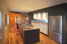 Make your kitchen Awesome with Bamboo Kitchen Flooring Ideas. You may choose light bamboo or black bamboo material for your kitchen . Flooring 101, Kitchen Flooring, Flooring Ideas, Strand Bamboo Flooring, Floor Design, House Design, Stainless Steel Countertops, Kitchen Images, Kitchen On A Budget