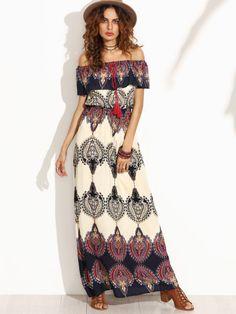 Multicolor Print Off The Shoulder Ruffle Maxi Dress