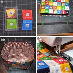 Ritter Sport Tasche Kulturbeutel Schninktasche recycling upcycling Verpackung S Fabric Crafts, Sewing Crafts, Sewing Projects, Sewing Diy, Diy Crafts, Sewing Patterns Free, Sewing Tutorials, Recycled Crafts Kids, Ritter Sport