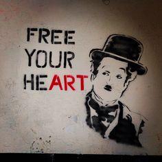 5ive5ive7even ~ Charlie Chaplin #freeyourheART #seattle #stencil #stencilart #seattlestreetart #streetart #streetartseattle #charliechaplin #whenyoursmiling #pikeplacemarket #spraypaint