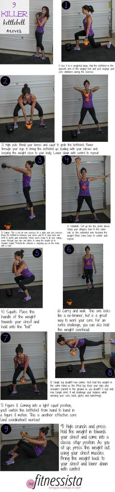 I made this little guide because I was thinking about how intimidating kettlebells once were for me! When I first experimented with them, I thought you could just switch them out for dumbbells, but it isn't really the case. The center of gravity is altered, so they have unique uses and exercises. | At-Home Workouts For Women | The Fitnessista |