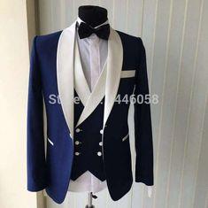 Blue Men Wedding Suits 2018 New Brand Fashion Design Real Groomsmen White Shawl Lapel Groom Tuxedos Mens Tuxedo Wedding/Prom Suits 3 Pieces Groom Tuxedo, Tuxedo Suit, Tuxedo For Men, White Tuxedo, Tuxedo Jacket, The Suits, Men's Suits, Wedding Men, Wedding Suits