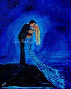Couple Mermaid Painting Mermaids Man Kissing by LeslieAllenFineArt, $25.00