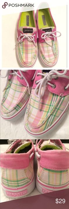 Sperry Top Sider Shoes Pink plaid Sperry Top Sider lace tie canvas shoes. Gently used.  Good condition.  (PB3) Sperry Top-Sider Shoes Sneakers