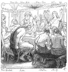 A depiction of Lokasenna (1895) by Lorenz Frølich... The Flyting of Loki (wiki-Flyting is a ritual, poetic exchange of insults practiced mainly between the 5th and 16th centuries) After Loki has caused the death of Baldr, he drops by a banquet to sling a few dirty secrets-sb