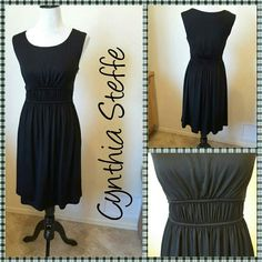 CYNTHIA STEFFE BLACK DRESS 92% acetate, 8% spandex.  Upper lined, zips up the side.  Gathered panel under bust. Cynthia Steffe Dresses Midi