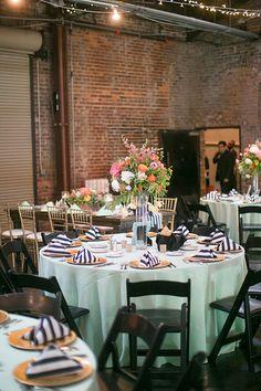 Spring Wedding / Atlanta Georgia / King Plow Arts Center / Mint green / Black and White stripes