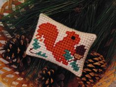 Primitive Squirrel Needlepoint Ornament, Mini Pillow, Autumn Squirrel Pillow,  Fall Decor Squirrel Needle Art by BunniesMadeOfBread on Etsy