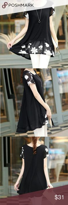 Beautiful Black Chiffon Hi-Lo Top Black Semi-Sheer Chiffon Hi-Lo Top with White Flower Details.   This is NWOT Retail. Price Firm Unless Bundled.  Manufacturers Measurements in Last Picture. Tops Blouses