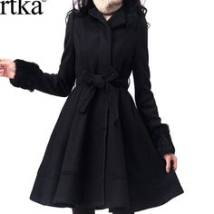 Amazing Solid Wool Artka Coat The most elegant warm winter coat you can imagine, brand new without tags. Fur trimming on the cuffs, lace decorated belt. Stunning coat! It's BLACK, peach is sold already. Price is firm! Artka Jackets & Coats Trench Coats