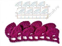 Crochet Edging And Borders Crochet Edge - Chart Crochet Simple, Crochet Diy, Crochet Motifs, Crochet Borders, Crochet Diagram, Crochet Stitches Patterns, Crochet Chart, Love Crochet, Crochet Designs