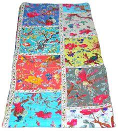 Indian White Handmade-Quilt Vintage Kantha Bedspread-Throw Cotton Blanket Gudari | eBay