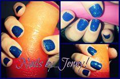 Gel polish dark blue and glitter!