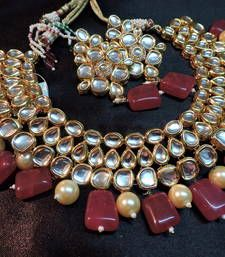 Buy mastani designer kundan and ruby onex gold plated necklace set Online