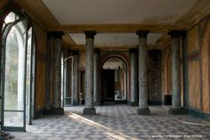 Chateau Bijou (France)  - Abandoned Easy to reproduce as mural or actual entry way with painted floor and pillars! TOO CoOl!!