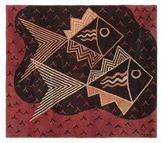1930 Marion Dorn modernist rug with fish Vintage Patterns, Vintage Prints, Marsala, Wilton Carpet, Art Deco Rugs, Cool Fish, Fabric Art, Wall Fabric, Rugs On Carpet