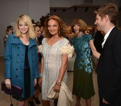 Emma Stone, designer Diane Von Furstenberg, Vogue Editor -in-Chief Anna Wintour and Burberry CCO Christopher Bailey attend The Ninth Annual CFDA/Vogue Fashion Fund Awards at 548 West 22nd Street on November 13, 2012 in New York City. Photo by Andrew H. Walker/Getty Images