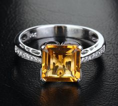 VS 8mm Asscher Cut Citrine 14K White Gold Pave Diamonds. // citrine is gorgeous! Love the gemstones. I'm such a girl. :D