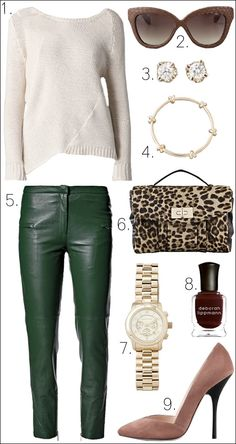 OUTFIT COLLAGE LINDA FARROW SUNGLASSES CAT EYE LEOPARD SATCHEL BED MICHAEL KORS GOLD WATCH CC SKYE KNOT BANGLE GINETTE_NY DIAMOND EARRINGS GIUSEPPE PINK SUEDE HEELS BY MALENE BIRGER GREEN LEATHER PANTS ALISA