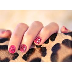 Valentine's Day Nails Fiery Pink, Black Mesh, Gold Glitter ❤ liked on Polyvore