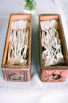Vintage Sewing Machine Drawers for Utensils - Super Cute! See the wedding on SMP - http://www.StyleMePretty.com/2014/01/08/rustic-chic-calabasas-wedding-at-tapia-park/ Nancy Neil Photography
