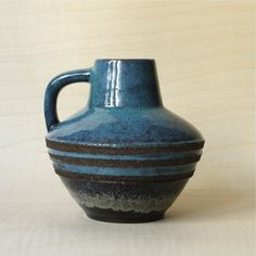 Vintage West German Pottery Ruscha Handled Vase with Fat Lava Stripes.