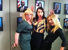 """Kirsten Vangsness, Paget Brewster & A.J. Cook on the set of """"Criminal Minds"""""""
