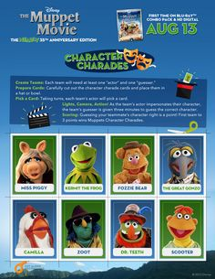 Play charades with your favorite characters from The Muppet Movie!