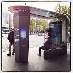 "davidlebovitz: ""Prototype of future Paris bus stop. Yea or nay? City Furniture, Urban Furniture, Street Furniture, Urban Design, Modern Design, Bus Stop Design, Ligne Bus, Bus Shelters, Pocket Park"