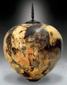 Carved Buckeye Burl Vessel. Kim Blatt Woodturning pieces available at Cory Pope & Associates Dallas Showroom.