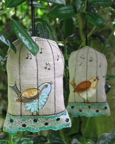bird in a cage lavender bags - ADORABLE