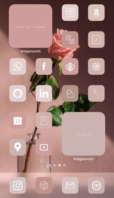 Want a home screen that looks like this? Check out SOSO Branding on Etsy (etsy.com/shop/sosobranding) for app covers to customize your home screen and make it aesthetically pleasing!  Warm Rose Aesthetic Neutral Tones | iPhone home screen ideas | Home screen inspo | Aesthetic home screen inspiration | Widgetsmith Shortcuts app | Aesthetic home screen inspo| Neutral aesthetic | Neutral tones | aesthetic warm rose brown beige aesthetic | iOS 14 widget photos | iOS 14 app covers | iOS 14 app… Iphone App Design, Iphone App Layout, Iphone Wallpaper Tumblr Aesthetic, Iphone Background Wallpaper, Disney Phone Wallpaper, Neon Wallpaper, Phone Backgrounds, Aesthetic Wallpapers, Iphone Home Screen Layout