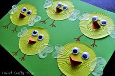 Cupcake Liner Chicks ~ Adorable spring chick craft: incorporate writing or math activity with this cute craft!