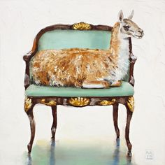 Daily oil Painting of Louis Chair, cute Llama animal, Kimberly Applegate ...'llama drama'