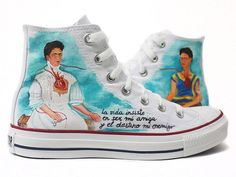 Zapatillas Frida Kahlo by www.pimpamcreations.com :) Vans Converse, Converse All Star, Sock Shoes, Shoe Boots, Diego Rivera Frida Kahlo, Stripper Shoes, Mexican Artists, Painted Shoes, Designer Shoes