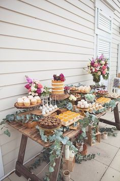 A rustic dessert table for a secret garden themed bridal shower! The bright flow… A rustic dessert table for a secret garden themed bridal shower! The bright flowers add a whimsical touch!✨ {Inspired by Kara's Party Ideas . Wedding Desserts, Wedding Decorations, Wedding Themes, Wedding Ideas, Garden Party Decorations, Engagement Party Desserts, Dessert Ideas For Wedding, Wedding Dessert Tables, Rustic Wedding Cupcakes