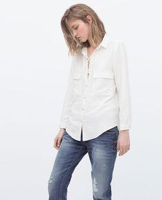 Image 2 of SAFARI SHIRT WITH SNAP CLOSURE from Zara