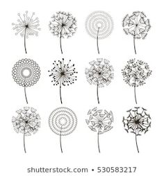 Dandelion flower icons Dandelions fluffy seeds vector image on VectorStock Embroidery Stitches, Embroidery Patterns, Hand Embroidery, Art Floral, Whats Wallpaper, Dandelion Flower, Dandelion Seeds, Flower Doodles, Zentangle Patterns