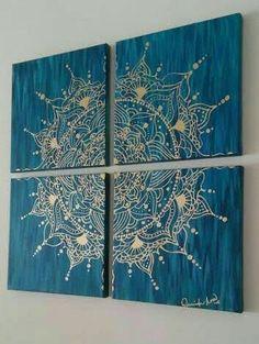 Diy Art, Diy Wall Art, Wall Art Decor, Mandala Canvas, Henna Canvas, Wall Mandala, Mandala Painting, Painting Art, Mandala Stencils