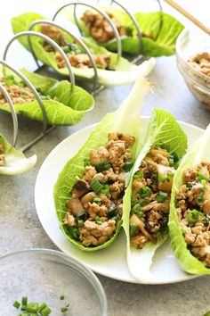 These Copycat PF Chang's Chicken Lettuce Wrap are made with healthy, whole ingredients. They're just 205 calories per serving with over 20 grams of protein!