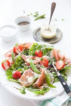 summer salad with prOsciutto & creamy vinaigrette