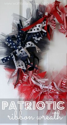 Make this Patriotic Ribbon Wreath to prepare for the Fourth of July this year via Wait Til Your Father Gets Home. #ribbonwreath #4thofJuly #redwhiteandblue