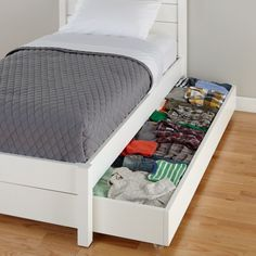 The Parke Trundle Bed doubles as an extra bed for sleepovers or as convenient under-bed storage. Designed for use with our Parke Bed, it includes five sturdy wooden slats that provide plenty of support when used as a bed. White Trundle Bed, Under Bed Storage, Tiny Bedroom Storage, Under Bed Organization, Twin Storage Bed, Bedroom Organization, Trundle Mattress, Hidden Bed, Murphy Bed Plans